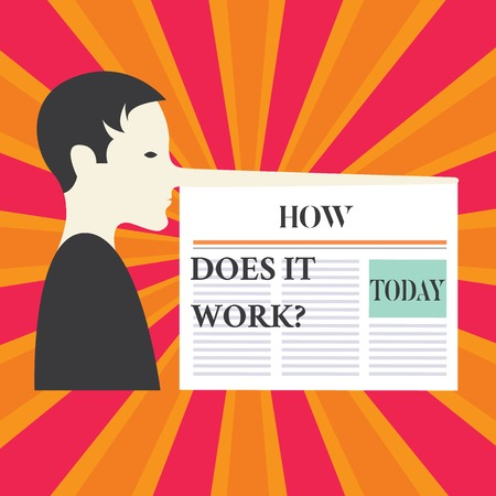 Writing note showing How Does It Workquestion. Business photo showcasing Instructions for using a device Asking consulting Man with a Very Long Nose like Pinocchio a Blank Newspaper is attached Stockfoto