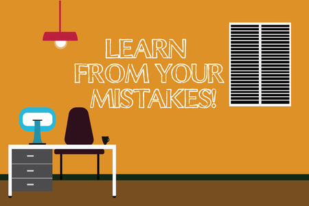 Writing note showing Learn From Your Mistakes. Business photo showcasing Take experience and advice from fails errors Minimalist Interior Computer and Study Area Inside a Room