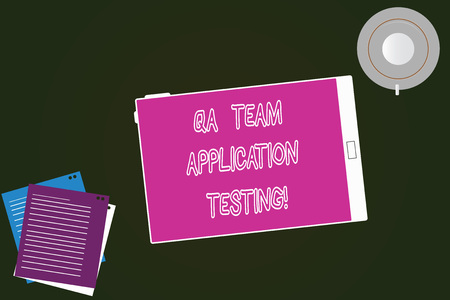 Conceptual hand writing showing Qa Team Application Testing. Business photo text Question and answers making software test Tablet Screen Cup Saucer and Filler Sheets on Color Background Foto de archivo