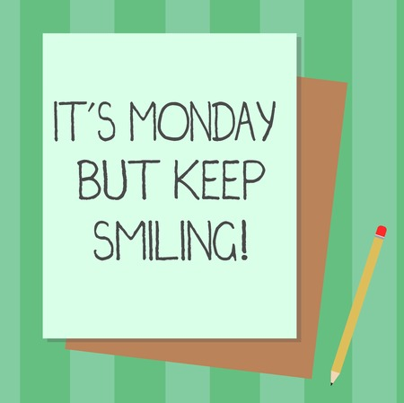 Conceptual hand writing showing It S Monday But Keep Smiling. Business photo text Have a good start of the week day Motivation Stack of Different Pastel Color Construct Bond Paper Pencil Banco de Imagens