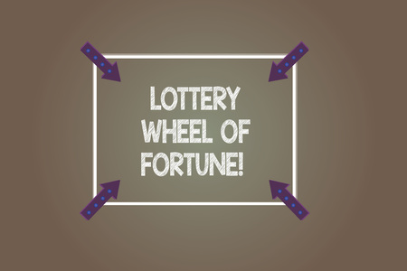 Text sign showing Lottery Wheel Of Fortune. Conceptual photo Chances good luck gambling addiction gambler Square Outline with Corner Arrows Pointing Inwards on Color Background