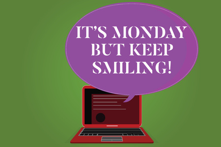 Word writing text It S Monday But Keep Smiling. Business concept for Have a good start of the week day Motivation Certificate Layout on Laptop Screen and Blank Halftone Color Speech Bubble Фото со стока