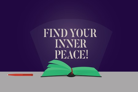 Word writing text Find Your Inner Peace. Business concept for Peaceful style of life Positivism Meditation Color Pages of Open Book photo on Table with Pen and Light Beam Glaring