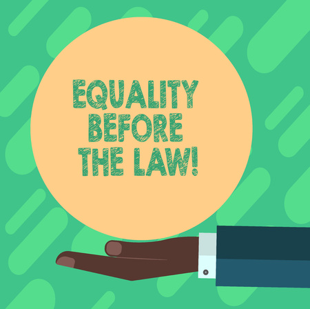 Conceptual hand writing showing Equality Before The Law. Business photo showcasing Justice balance protection equal rights for everyone Hu analysis Hand Offering Solid Color Circle Logo Posters
