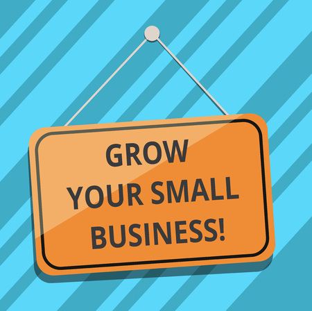 Text sign showing Grow Your Small Business. Conceptual photo company generates positive cash flow Earn Blank Hanging Color Door Window Signage with Reflection String and Tack Banco de Imagens - 113486306