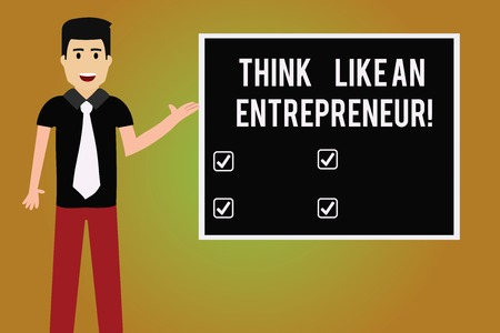 Writing note showing Think Like An Entrepreneur. Business photo showcasing Have an entrepreneurship mind Start up strategy Man with Tie Talking Presenting Blank Color Square Board Zdjęcie Seryjne