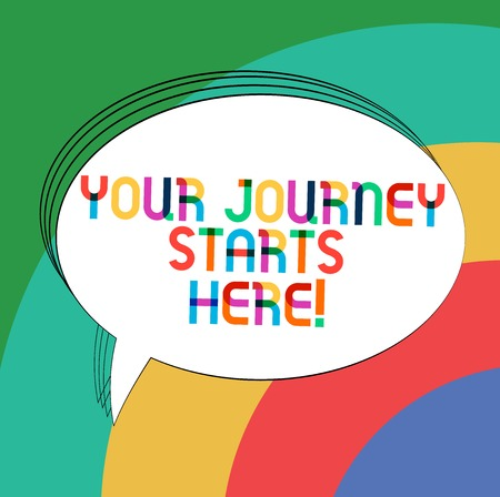 Writing note showing Your Journey Starts Here. Business photo showcasing Motivation for starting a business Inspiration Oval Outlined Solid Color Speech Bubble Empty Text Balloon