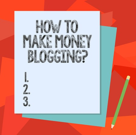 Text sign showing How To Make Money Bloggingquestion. Conceptual photo Blogger online modern advertising Stack of Blank Different Pastel Color Construction Bond Paper and Pencil Reklamní fotografie