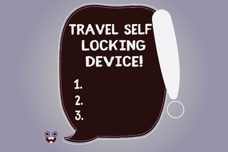 Word writing text Travel Self Locking Device. Business concept for Protecting your luggage Lock baggage on trip Blank Color Speech Bubble Outlined with Exclamation Point Monster Face icon
