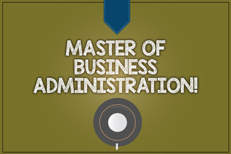 Text sign showing Master Of Business Administration. Conceptual photo Post graduate education finances Coffee Cup Saucer Top View photo Reflection on Blank Color Snap Planner