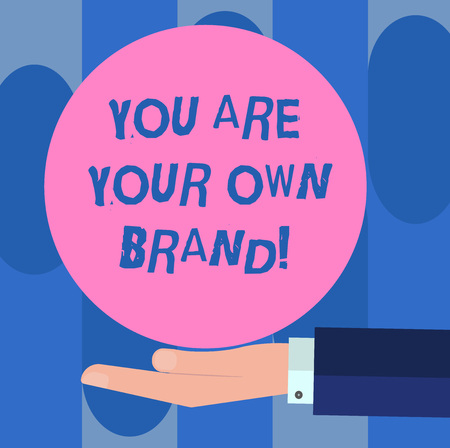 Handwriting text You Are Your Own Brand. Concept meaning Perception emotion from other showing about yourself   analysis Hand in Suit Offering Blank Solid Color Circle for   Posters Stock Photo