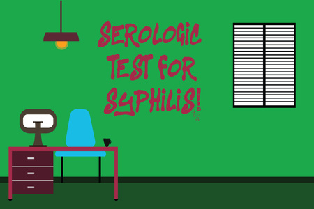 Conceptual hand writing showing Serologic Test For Syphilis. Business photo text Laboratory tests for sexual transmission disease Minimalist Interior Computer and Study Area Inside a Room