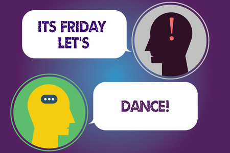 Handwriting text Its Friday Let S Dance. Concept meaning Invitation to party go to a disco enjoy happy weekend Messenger Room with Chat Heads Speech Bubbles Punctuations Mark icon