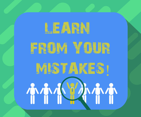 Conceptual hand writing showing Learn From Your Mistakes. Business photo text Take experience and advice from fails errors Magnifying Glass Over Chosen Man Hu analysis Dummies Line Up Stock fotó