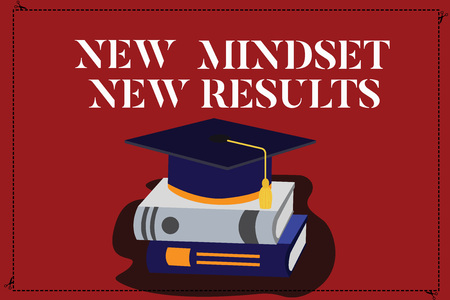 Text sign showing New Mindset New Results. Conceptual photo Open to Opportunities No Limits Think Bigger Color Graduation Hat with Tassel 3D Academic cap photo Resting on Books