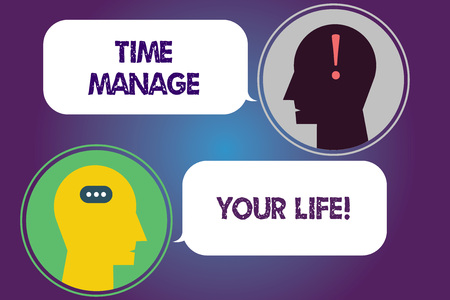 Handwriting text Time Manage Your Life. Concept meaning Good scheduling for everyday or work activities Messenger Room with Chat Heads Speech Bubbles Punctuations Mark icon Фото со стока