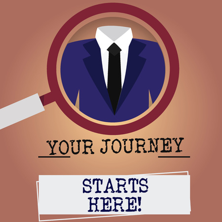 Writing note showing Your Journey Starts Here. Business photo showcasing Motivation for starting a business Inspiration Magnifying Glass Enlarging a Tuxedo and Label Tag Below 免版税图像