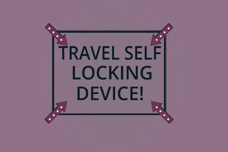 Handwriting text Travel Self Locking Device. Concept meaning Protecting your luggage Lock baggage on trip Square Outline with Corner Arrows Pointing Inwards on Color Background Archivio Fotografico