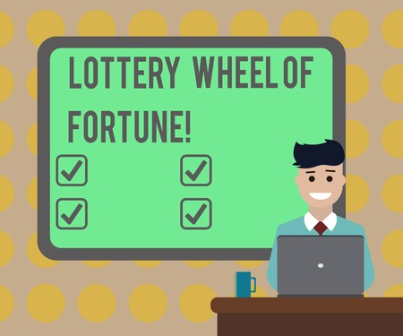 Word writing text Lottery Wheel Of Fortune. Business concept for Chances good luck gambling addiction gambler Blank Bordered Board behind Man Sitting Smiling with Laptop Mug on Desk Banque d'images