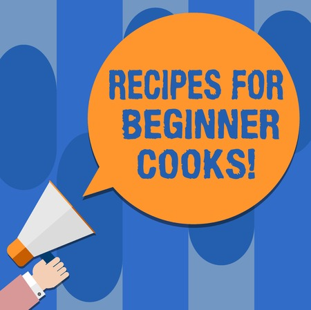Writing note showing Recipes For Beginner Cooks. Business photo showcasing Fast and easy food preparations for new chefs Hu analysis Hand Holding Megaphone Color Speech Bubble