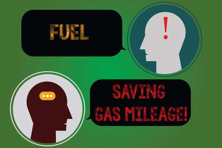 Handwriting text writing Fuel Saving Gas Mileage. Concept meaning Expending less money in vehicle expenses gas savings Messenger Room with Chat Heads Speech Bubbles Punctuations Mark icon Stock Photo