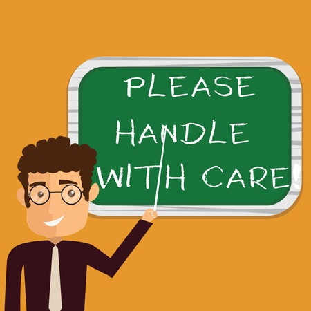 Conceptual hand writing showing Please Handle With Care. Business photo text Fragile be careful during transportation shipping Man Holding Stick Pointing to Wall Mounted Blank Color Board Stock Photo
