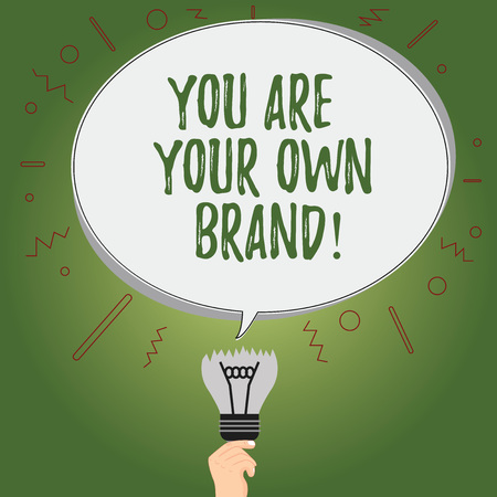 Writing note showing You Are Your Own Brand. Business photo showcasing Perception emotion from other showing about yourself Oval Speech Bubble Above a Broken Bulb with Failed Idea icon Stock Photo