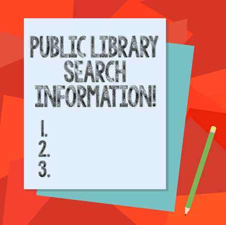 Text sign showing Public Library Search Information. Conceptual photo Researching project investigation Stack of Blank Different Pastel Color Construction Bond Paper and Pencil Фото со стока