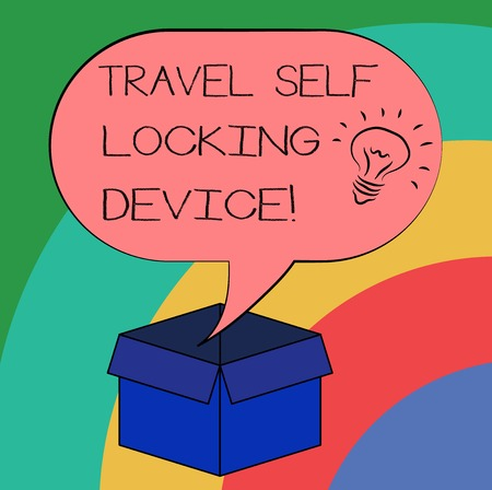 Conceptual hand writing showing Travel Self Locking Device. Business photo text Protecting your luggage Lock baggage on trip Idea icon in Blank Halftone Speech Bubble Over Carton Box Archivio Fotografico
