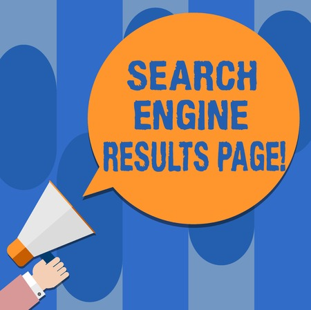Writing note showing Search Engine Results Page. Business photo showcasing Website created to display searching result Hu analysis Hand Holding Megaphone Color Speech Bubble
