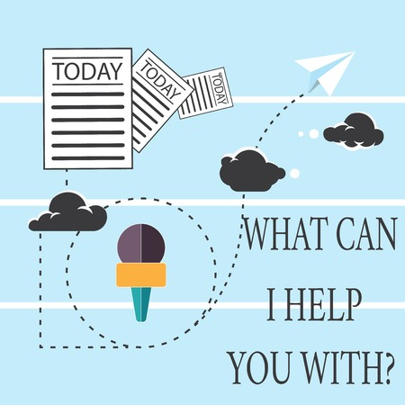 Text sign showing What Can I Help You With. Conceptual photo Offering assistance Experts advice support ideas Information and Documents Passing thru Cloud Hosting Fast delivery of Data