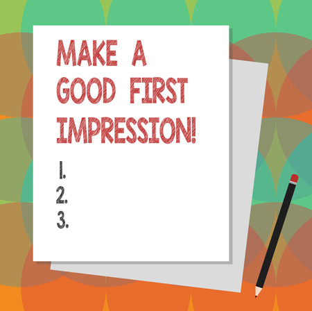 Text sign showing Make A Good First Impression. Conceptual photo Introduce yourself in a great look and mood Stack of Blank Different Pastel Color Construction Bond Paper and Pencil Banque d'images - 113489405