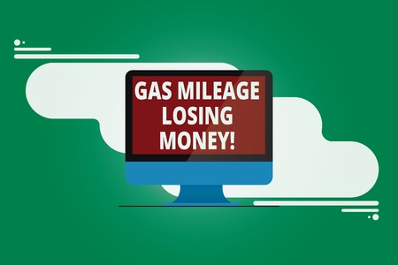 Writing note showing Gas Mileage Losing Money. Business photo showcasing Long road high gas fuel costs financial losses Mounted Computer Monitor Blank Reflected Screen on Abstract Background