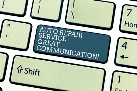 Handwriting text Auto Repair Service Great Communication. Concept meaning Car mechanic technician available Keyboard key Intention to create computer message, pressing keypad idea