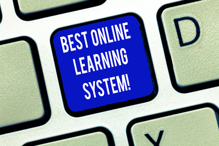 Word writing text Best Online Learning System. Business concept for Top high quality elearning techniques Keyboard key Intention to create computer message, pressing keypad idea Foto de archivo