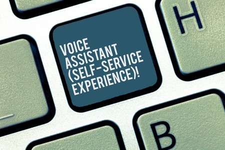 Word writing text Voice Assistant Self Service Experience. Business concept for Artificial intelligence chat bot Keyboard key Intention to create computer message, pressing keypad idea