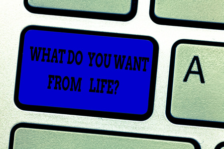 Word writing text What Do You Want From Lifequestion. Business concept for Express the things you would like to get Keyboard key Intention to create computer message pressing keypad idea