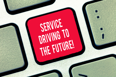 Writing note showing Service Driving To The Future. Business photo showcasing Modern technologies assistance services Keyboard Intention to create computer message keypad idea 写真素材