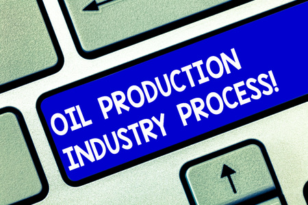 Conceptual hand writing showing Oil Production Industry Process. Business photo showcasing Petroleum company industrial processing Keyboard key Intention to create computer message idea Stock Photo