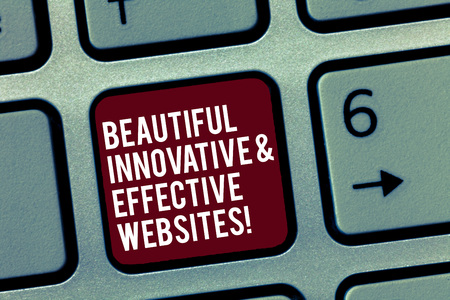 Text sign showing Beautiful Innovative And Effective Websites. Conceptual photo Well done attractive webpages Keyboard key Intention to create computer message, pressing keypad idea Stockfoto - 113703948
