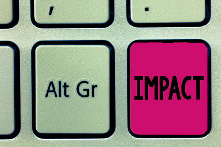 Handwriting text Impact. Concept meaning action of one object coming forcibly into contact with another. 스톡 콘텐츠