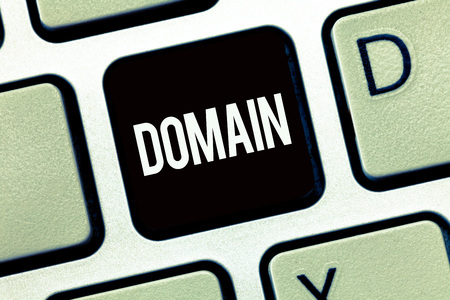Word writing text Domain. Business concept for distinct subset of Internet with addresses sharing common suffix.