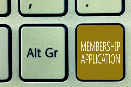 Text sign showing Membership Application. Conceptual photo Gateway to any organization to check if Eligible.