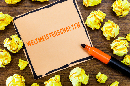 Writing note showing Weltmeisterschaften. Business photo showcasing World Championships of Sporting Competitions.