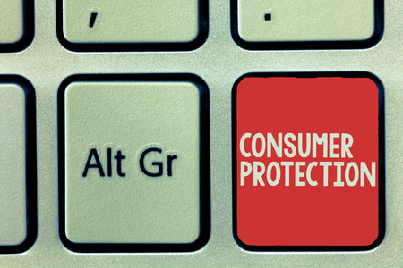 Text sign showing Consumer Protection. Conceptual photo Fair Trade Laws to ensure Consumers Rights Protection.