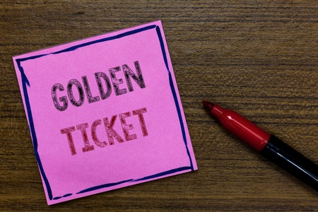 Text sign showing Golden Ticket. Conceptual photo Rain Check Access VIP Passport Box Office Seat Event Purple Paper Important reminder Communicate ideas Marker Wooden background Standard-Bild