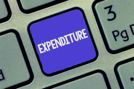 Text sign showing Expenditure. Conceptual photo Action of spending funds amount of money spent Investment.