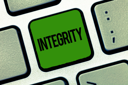 Text sign showing Integrity. Conceptual photo quality of being honest and having strong moral principles.