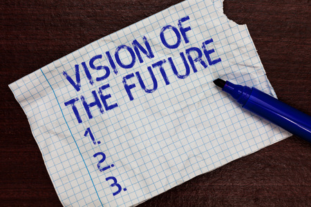 Writing note showing Vision Of The Future. Business photo showcasing Seeing something Ahead a Clear Guide of Action Squared notebook paper Markers Communicating ideas Expressing feelings