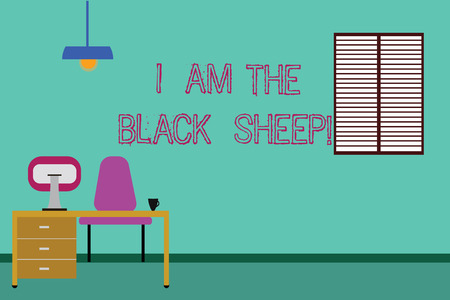 Conceptual hand writing showing I Am The Black Sheep. Business photo showcasing Different from others original unique in a group Minimalist Interior Computer and Study Area Inside a Room Stock Photo